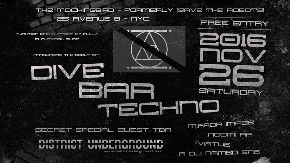 ra dive bar techno free event at the mockingbird new york 2016
